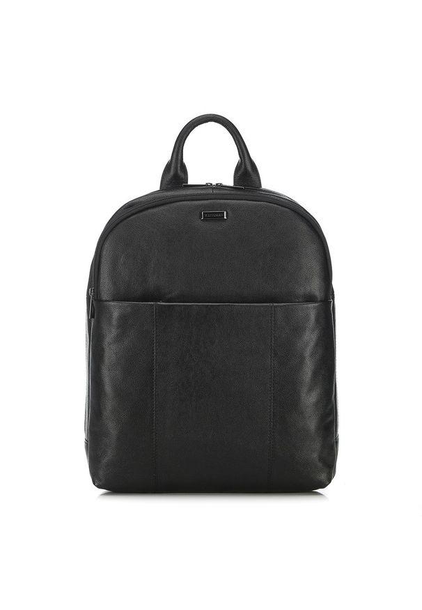 "Wittchen - Męski plecak na laptopa 13"" skórzany. Kolor: czarny. Materiał: skóra. Wzór: paski, aplikacja. Styl: casual"