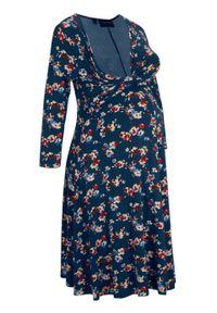 Sukienka ciążowa i do karmienia z efektem założenia kopertowego bonprix ciemnoniebieski w kwiaty. Typ kołnierza: dekolt w serek. Kolekcja: moda ciążowa. Kolor: niebieski. Materiał: wiskoza. Wzór: kwiaty. Typ sukienki: kopertowe