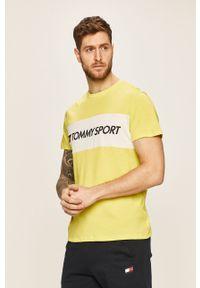 T-shirt Tommy Sport z okrągłym kołnierzem, z nadrukiem