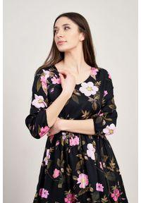 Marie Zélie - Sukienka Hypatia Penumbra czarna. Kolor: czarny. Materiał: tkanina, wiskoza, materiał