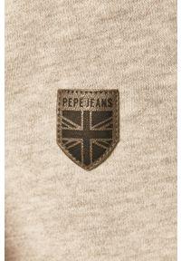 Szara bluza nierozpinana Pepe Jeans na co dzień, casualowa, z kapturem, z nadrukiem