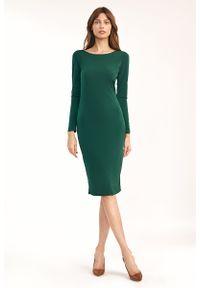 Nife - Dopasowana Sukienka z wycięciem na Plecach - Zielona. Kolor: zielony. Materiał: elastan