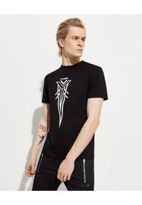 Les Hommes - LES HOMMES - Czarny t-shirt z kontrastowym nadrukiem. Okazja: na co dzień. Kolor: czarny. Materiał: jeans, bawełna. Wzór: nadruk. Styl: casual, klasyczny