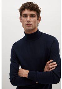 Niebieski sweter Mango Man długi, z długim rękawem