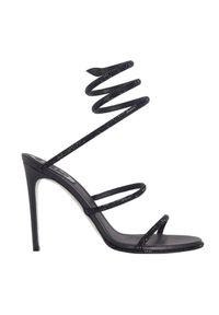 RENE CAOVILLA - Czarne sandały na szpilce Cleo. Nosek buta: okrągły. Zapięcie: pasek. Kolor: czarny. Materiał: satyna. Wzór: paski, aplikacja. Obcas: na szpilce. Styl: elegancki. Wysokość obcasa: średni