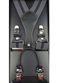 Modini - Długie szare szelki męskie z granatowym paskiem XL32. Kolor: niebieski, wielokolorowy, szary. Materiał: skóra, guma