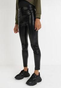 Born2be - Czarne Legginsy Ibin. Stan: podwyższony. Kolor: czarny. Materiał: jeans, skóra. Długość: długie. Wzór: gładki. Styl: klasyczny
