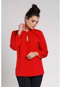 Czerwona bluzka z długim rękawem Nommo z koszulowym kołnierzykiem