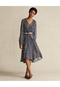 Ralph Lauren - RALPH LAUREN - Granatowa sukienka. Typ kołnierza: polo. Kolor: niebieski. Materiał: wiskoza, materiał. Długość rękawa: długi rękaw. Wzór: kwiaty, nadruk. Styl: elegancki