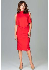 Czerwona sukienka Katrus wizytowa, midi