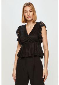 Czarna bluzka Morgan w koronkowe wzory, krótka, casualowa