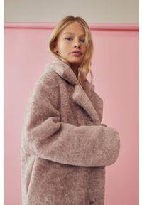 Różowy płaszcz Mango Kids bez kaptura, klasyczny