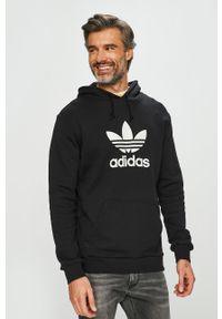 Czarna bluza nierozpinana adidas Originals casualowa, z kapturem, na co dzień, z nadrukiem