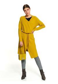 TOP SECRET - Kardigan z wiązaniem. Okazja: na co dzień. Kolor: żółty. Materiał: dzianina. Długość: długie. Sezon: jesień, zima. Styl: casual