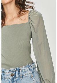 Miętowa bluzka Answear Lab z dekoltem karo, wakacyjna, na co dzień
