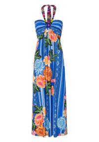 Sukienka bandeau z perełkami bonprix ciemnoniebiesko-kremowo-pomarańczowy - jasnoróżowy w kwiaty. Kolor: niebieski. Wzór: kwiaty. Sezon: lato