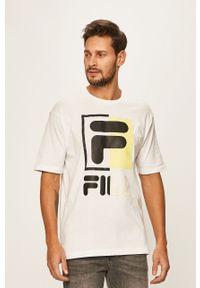 Biały t-shirt Fila z okrągłym kołnierzem, na co dzień, casualowy