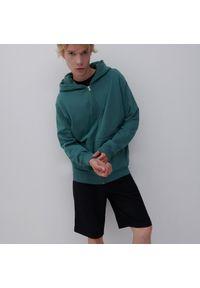 Reserved - Rozpinana bluza z bawełny organicznej - Turkusowy. Kolor: turkusowy. Materiał: bawełna