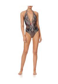 Camilla - CAMILLA - Jednoczęściowy strój kąpielowy Gothic Goddess. Kolor: brązowy. Materiał: elastan. Wzór: kwiaty, kolorowy