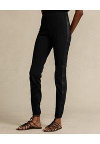 Ralph Lauren - RALPH LAUREN - Czarne leginsy ze skórzanym wykończeniem Skinny fit. Kolor: czarny. Materiał: skóra. Wzór: aplikacja