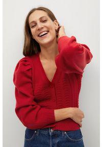 mango - Mango - Kardigan EIFFEL. Okazja: na co dzień. Kolor: czerwony. Materiał: dzianina. Długość rękawa: długi rękaw. Długość: długie. Styl: casual