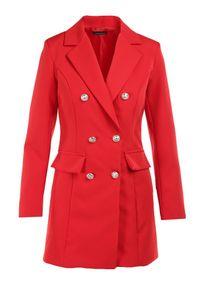Born2be - Czerwona Marynarka Melloreia. Okazja: na spotkanie biznesowe. Kolor: czerwony. Materiał: tkanina. Długość: długie. Styl: wizytowy, biznesowy #6