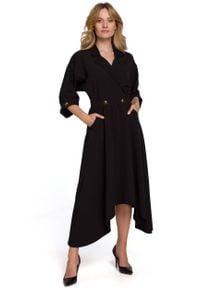 MOE - Czarna Asymetryczna Rozkloszowana Sukienka z Kopertowym Dekoltem. Kolor: czarny. Materiał: elastan, poliester. Typ sukienki: kopertowe, asymetryczne