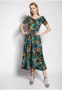 e-margeritka - Sukienka wizytowa midi z odkrytymi ramionami - 42. Materiał: poliester, tkanina, materiał. Długość rękawa: krótki rękaw. Typ sukienki: z odkrytymi ramionami. Styl: wizytowy. Długość: midi