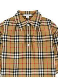 BURBERRY CHILDREN - Koszula w kratę. Typ kołnierza: kołnierzyk klasyczny. Kolor: brązowy. Materiał: materiał. Wzór: nadruk. Styl: klasyczny, elegancki