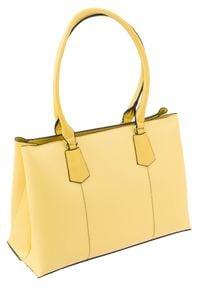 DAVID JONES - Torebka damska żółta David Jones CM5695. Kolor: żółty. Materiał: skórzane. Styl: klasyczny. Rodzaj torebki: przez ramię