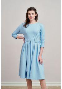 Marie Zélie - Sukienka Anastazja błękitna. Kolor: niebieski. Materiał: dzianina. Styl: klasyczny