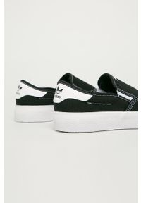 Czarne niskie trampki adidas Originals z cholewką, z okrągłym noskiem