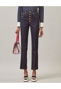 Tory Burch - TORY BURCH - Granatowe jeansy Slim Fit. Stan: podwyższony. Kolor: niebieski. Styl: elegancki, klasyczny
