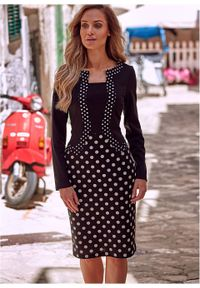 Sukienka ołówkowa z dżerseju w kropki, długi rękaw bonprix czarno-biały w kropki. Kolor: czarny. Materiał: jersey. Długość rękawa: długi rękaw. Wzór: kropki. Typ sukienki: ołówkowe