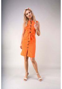 Nommo - Letnia Sukienka w Stylu Safari - Pomarańczowa. Kolor: pomarańczowy. Materiał: wiskoza, poliester. Sezon: lato
