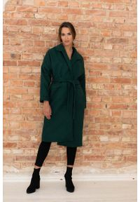 Nommo - Długi Płaszcz Wiązany w Talii - Zielony. Kolor: zielony. Materiał: poliester, wiskoza, wełna. Długość: długie