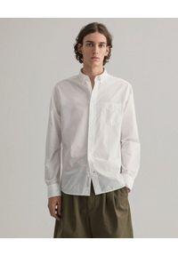 GANT - Biała koszula z logo Regular Fit. Kolor: biały. Materiał: bawełna