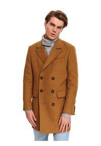 TOP SECRET - Klasyczny płaszcz dwurzędowy z wełnianej tkaniny. Materiał: tkanina, wełna. Sezon: zima. Styl: klasyczny #6