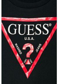 Czarna bluza Guess Jeans na co dzień, casualowa, z nadrukiem
