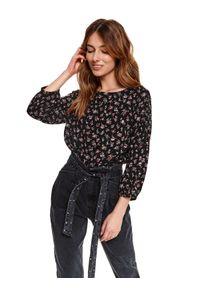 TOP SECRET - Bluzka w kwiaty z bufiastymi rękawami. Okazja: na co dzień. Kolor: czarny. Materiał: jeans, materiał. Wzór: kwiaty. Sezon: wiosna. Styl: casual
