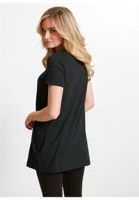 Długi shirt bonprix czarny. Kolor: czarny. Długość: długie