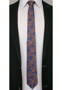 Alties - Granatowo-Pomarańczowy Elegancki Krawat w Łezki -ALTIES- 6 cm, Paisley, Męski. Kolor: niebieski. Materiał: tkanina. Wzór: paisley. Styl: elegancki
