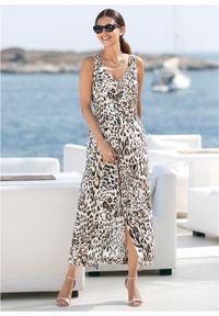 Sukienka midi z wiskozy bonprix w cętki leoparda. Kolor: biały. Materiał: wiskoza. Styl: elegancki. Długość: midi