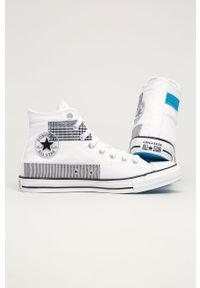 Białe wysokie trampki Converse z okrągłym noskiem, na sznurówki