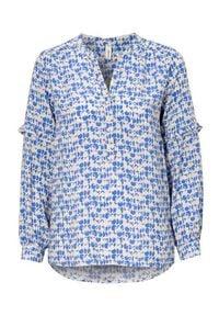 Niebieska bluzka Soyaconcept z falbankami, z długim rękawem, krótka