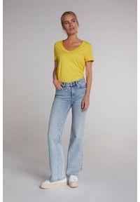 Żółty bawełniany t-shirt z krótkim rękawem Oui. Kolor: żółty. Materiał: bawełna. Długość rękawa: krótki rękaw. Długość: krótkie