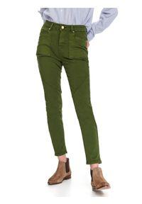 TOP SECRET - Spodnie damskie skinny z ozdobnym cięciem. Okazja: na co dzień. Kolor: brązowy. Sezon: jesień. Styl: casual