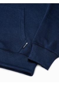 Ombre Clothing - Bluza męska z kapturem B1085 - granatowa - XXL. Typ kołnierza: kaptur. Kolor: niebieski. Materiał: poliester, bawełna #2