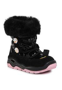 Czarne buty zimowe Primigi z aplikacjami, z cholewką, na spacer