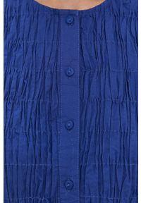 Pieces - Sukienka. Kolor: niebieski. Materiał: tkanina. Długość rękawa: krótki rękaw. Wzór: gładki. Typ sukienki: rozkloszowane